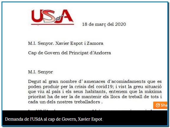 L'USdA demana a Espot que no es pugui acomiadar durant dos mesos Gabriel Ubach ha enviat un document a Xavier Espot on reclama que, per llei, no es pugui fer fora de la feina a cap treballador des del 14 i 15 de març i fins als pròxims dos mesos.