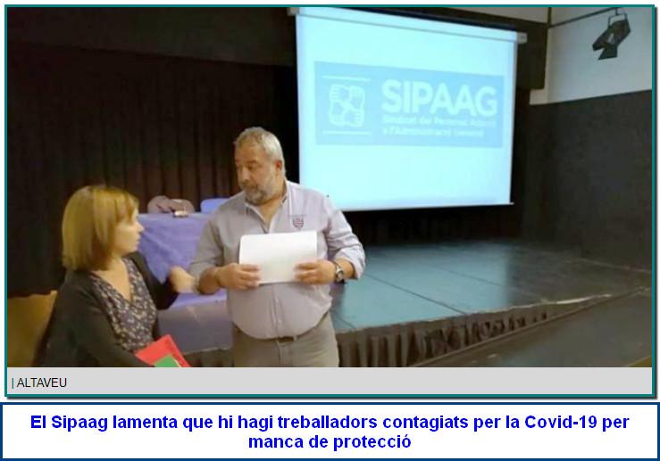 """Afers Socials.El Sipaag lamenta que hi hagi treballadors contagiats per la Covid-19 per manca de protecció El sindicat remarca la importància de garantir la seguretat i la salut als llocs de feina i expliquen que ja han fet """"renúncies"""" per ajudar a estalviar a l'administració."""