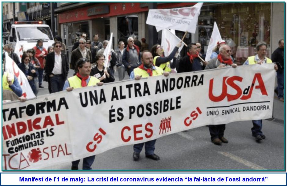 La Unió Sindical d'Andorra (USdA) ha fet públic, a través del seu secretari general, Gabriel Ubach, el tradicional Manifest amb motiu aquest divendres de la celebració de l'1 de maig.